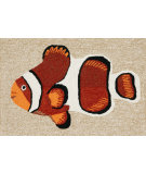 RugStudio presents Trans-Ocean Frontporch Clown Fish Orange 1454/17 Hand-Tufted, Good Quality Area Rug