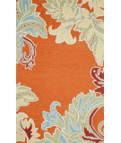 RugStudio presents Trans-Ocean Ravella Ornametal Leaf Bdr Orange 1947/17 Hand-Hooked Area Rug