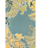 RugStudio presents Trans-Ocean Ravella Ornamental Leaf Bdr Light Blue 1947/03 Hand-Hooked Area Rug