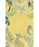 RugStudio presents Trans-Ocean Ravella Ornamental Leaf Bdr Yellow 1947/09 Hand-Hooked Area Rug
