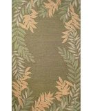 RugStudio presents Trans-Ocean Spello Fern Border Green 1918/06 Hand-Hooked Area Rug