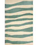 RugStudio presents Trans-Ocean Spello Wavey Stripe Aqua 2116/04 Hand-Hooked Area Rug