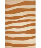 RugStudio presents Trans-Ocean Spello Wavey Stripe Orange 2116/17 Hand-Hooked Area Rug