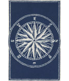 RugStudio presents Trans-Ocean Frontporch Compass Navy 1447/33 Hand-Tufted, Good Quality Area Rug