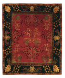 RugStudio presents Tufenkian Setana Donegal Branches Ruby / Deep Pine Hand-Knotted, Best Quality Area Rug